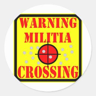 Warning Militia Crossing w/ Crosshairs Scope Stickers