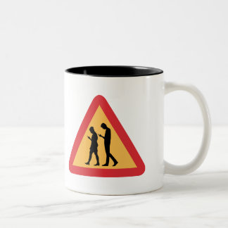 Warning Mobile Zombies, Stockholm, Sweden Two-Tone Coffee Mug