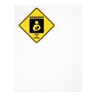 Warning! Mom At Work (Breastfeeding Sign) Letterhead