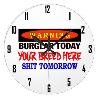 WARNING MR BURGLAR WALLCLOCK