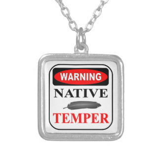 WARNING NATIVE TEMPER SQUARE PENDANT NECKLACE