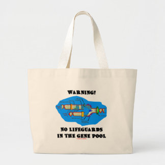 Warning! No Lifeguards In The Gene Pool Large Tote Bag