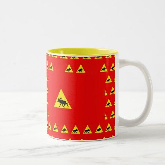 Warning of the moose Two-Tone coffee mug