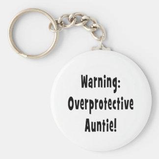 warning overprotective auntie black key chain
