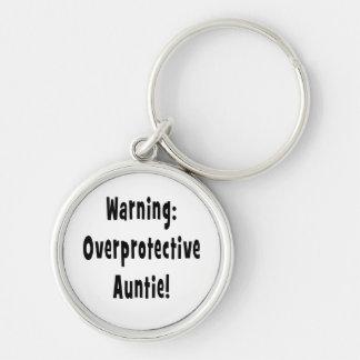 warning overprotective auntie black keychain
