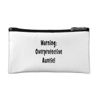warning overprotective auntie black makeup bag