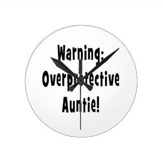 warning overprotective auntie black round wallclock