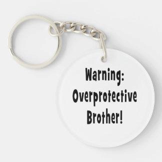 warning overprotective brother black text acrylic keychain
