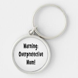 warning overprotective mom black keychain
