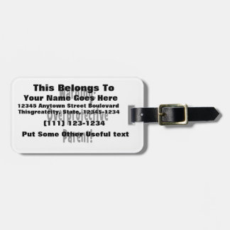 warning overprotective parent black text bag tag