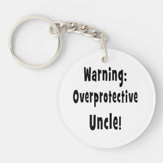 warning overprotective uncle black acrylic keychain