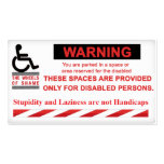 Warning Parking for People with Disabilities Only! Business Card