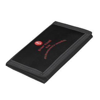 Warning Partial To Schadenfreude Red Text Trifold Wallet