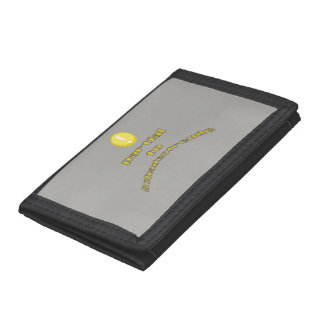 Warning Partial To Schadenfreude Yellow Text Trifold Wallet