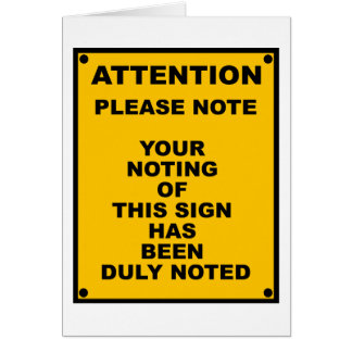 Warning Please Note Spoof Warning Sign Cards
