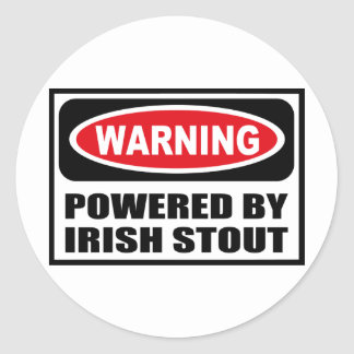 Warning POWERED BY IRISH STOUT Sticker