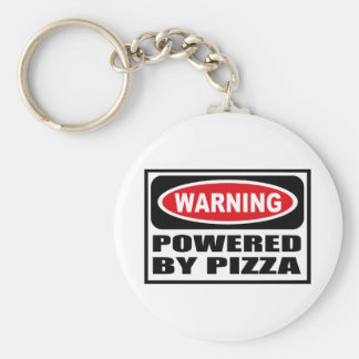 Warning POWERED BY PIZZA Key Chain
