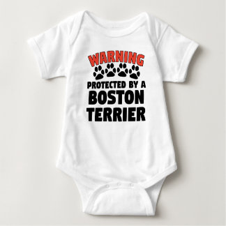 Warning Protected By A Boston Terrier Baby Bodysuit