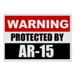 WARNING - PROTECTED BY AR-15  Poster/Sign