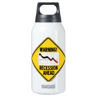 Warning! Recession Ahead (Yellow Diamond Sign) 10 Oz Insulated SIGG Thermos Water Bottle