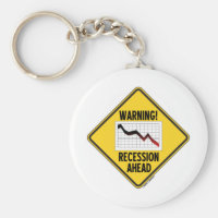 Warning! Recession Ahead (Yellow Diamond Sign) Basic Round Button Keychain