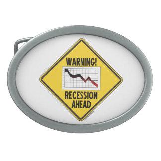 Warning! Recession Ahead (Yellow Diamond Sign) Belt Buckle