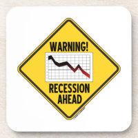 Warning! Recession Ahead (Yellow Diamond Sign) Beverage Coaster