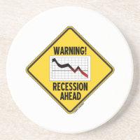 Warning! Recession Ahead (Yellow Diamond Sign) Drink Coaster