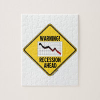 Warning! Recession Ahead (Yellow Diamond Sign) Jigsaw Puzzle