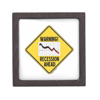 Warning! Recession Ahead (Yellow Diamond Sign) Keepsake Box