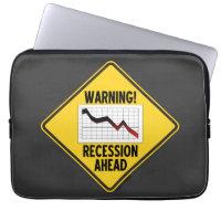 Warning! Recession Ahead (Yellow Diamond Sign) Laptop Computer Sleeve