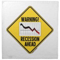 Warning! Recession Ahead (Yellow Diamond Sign) Napkin