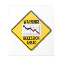 Warning! Recession Ahead (Yellow Diamond Sign) Note Pad