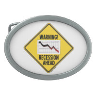 Warning! Recession Ahead (Yellow Diamond Sign) Oval Belt Buckles