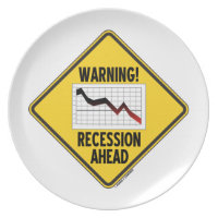 Warning! Recession Ahead (Yellow Diamond Sign) Party Plates
