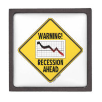 Warning! Recession Ahead (Yellow Diamond Sign) Premium Gift Boxes