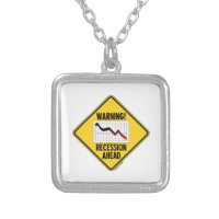 Warning! Recession Ahead (Yellow Diamond Sign) Square Pendant Necklace