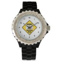 Warning! Recession Ahead (Yellow Diamond Sign) Wristwatch