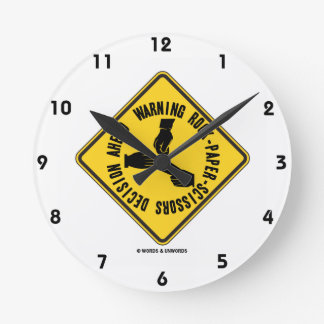 Warning Rock-Paper-Scissors Decision Ahead Sign Round Clock
