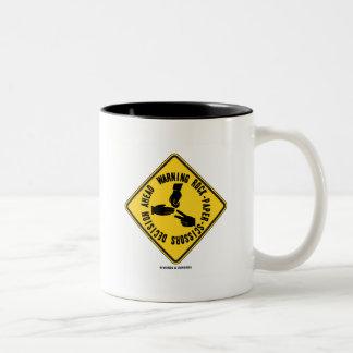 Warning Rock-Paper-Scissors Decision Ahead Sign Two-Tone Coffee Mug