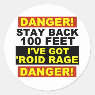 Warning Roid Range Round Sticker