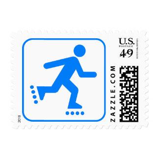 Warning: Rollerblading Sports Sign Blue Stamp