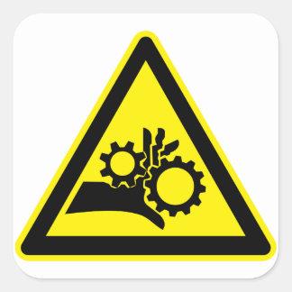 Warning Rotating Parts Square Sticker