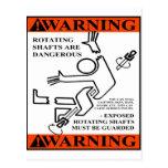 WARNING! ROTATING SHAFTS ARE DANGEROUS POSTCARD