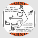 WARNING! ROTATING SHAFTS ARE DANGEROUS ROUND STICKERS