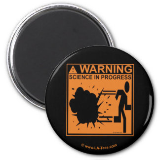 WARNING:SCIENCE IN PROGRESS 2 INCH ROUND MAGNET