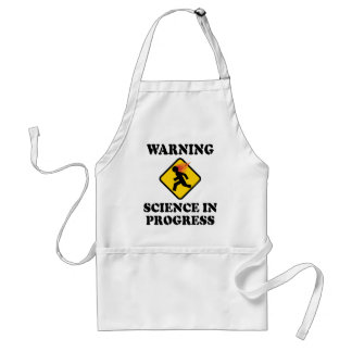 Warning Science In Progress - Funny Caution Sign Adult Apron