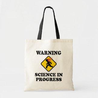 Warning Science In Progress Sign - Funny Scientist Tote Bag