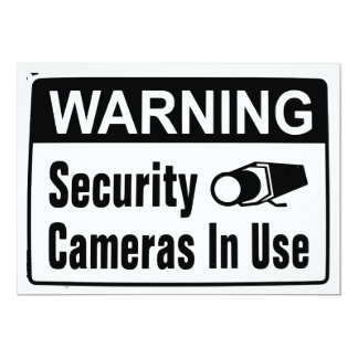 Warning Security Camera In Use Invitations
