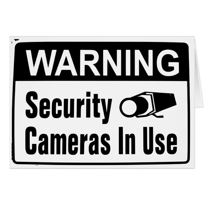 warning security camera in use note cards zazzle